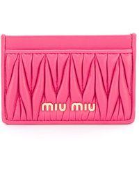 Miu Miu Portemonnee Met Logo - Roze