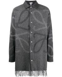 Loewe Длинная Рубашка С Узором Anagram И Бахромой - Серый