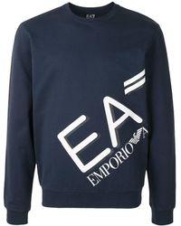 EA7 プリント スウェットシャツ - ブルー