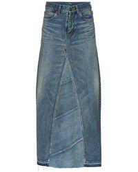 Saint Laurent High Waist Denim Maxi Skirt - Blue