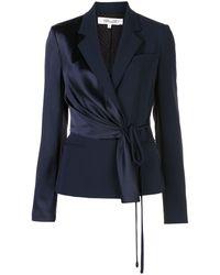 Diane von Furstenberg Satin Drape Blazer - Blue