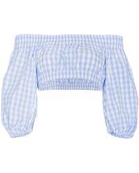 Adam Selman Gingham Bardot Cotton Cropped Top - Blue