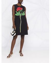 Boutique Moschino Платье-трапеция Без Рукавов С Цветочным Принтом - Черный