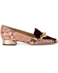 Tory Burch Jessa 25mm Snake-effect Loafers - Pink