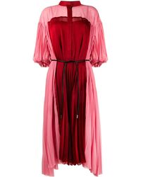 Sacai カラーブロック プリーツドレス - ピンク