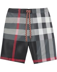 Burberry Short de bain à carreaux - Gris