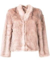 Unreal Fur テクスチャード ジャケット - ピンク