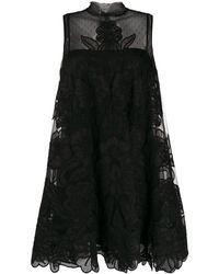 RED Valentino Короткое Платье С Цветочной Вышивкой - Черный