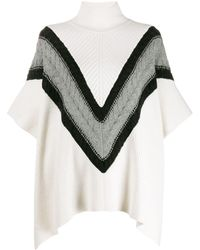 See By Chloé Chevron Knit Turtleneck Cape Sweater - White