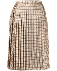 Burberry Pleated Midi Skirt - Natural