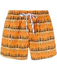 NOS Beachwear プリント トランクス水着 - オレンジ