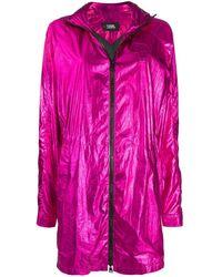 Karl Lagerfeld Ikonik Metallic Parka Coat - Pink