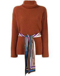 Fendi Belted Turtleneck Sweater - Brown