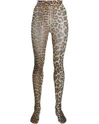 Ganni Leopard Print Tights - Multicolor