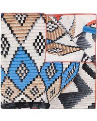 Longchamp Graphic-print Silk Scarf - Blue