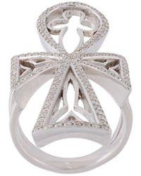 Loree Rodkin Diamond Maltese Cross Ring - Metallic