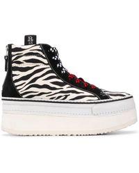 R13 Zapatillas con motivo de cebra - Blanco