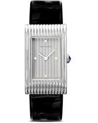 Boucheron Medium Diamond Reflet Black Leather Strap Watch - Multicolour
