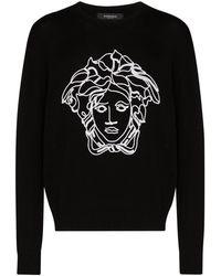 Versace Sweater Met Geborduurde Medusakop - Zwart