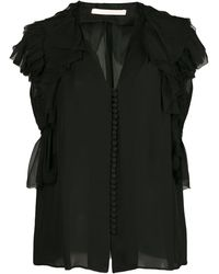 Jason Wu Collection Ruffle Sleeve Button Blouse - Black