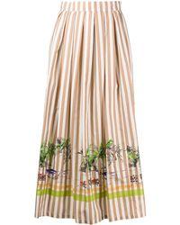 Erika Cavallini Semi Couture ストライプ Aラインスカート - ブラウン