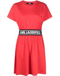 Karl Lagerfeld ロゴストライプ シャツドレス - レッド