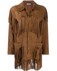 P.A.R.O.S.H. Fringe Long-sleeve Jacket - Brown