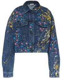 Miu Miu Floral Painted Cropped Denim Jacket - Blue