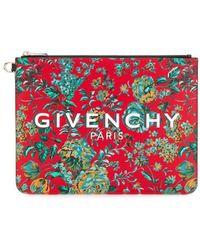 Givenchy Clutch mit Blumen-Print - Rot