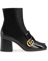 Gucci Black Marmont 70 Leather Ankle Boots - Zwart