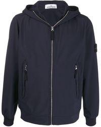 Stone Island Hooded Zip-up Jacket - Blue