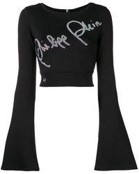 Philipp Plein Crystal-embellished cropped sweater - Noir