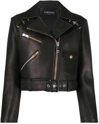 Versace Cropped-Jacke im Biker-Look - Schwarz