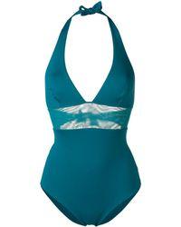Fisico Badeanzug mit Netzeinsatz - Blau