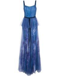 Marchesa notte Вечернее Платье Из Тюля С Пайетками - Синий