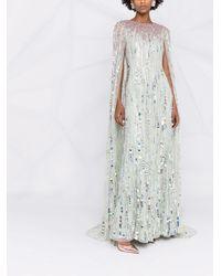 Jenny Packham Вечернее Платье-кейп С Пайетками - Зеленый