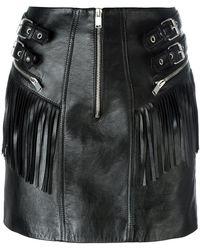 Saint Laurent - Fringed Leather Mini Skirt - Lyst