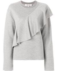 Diane von Furstenberg Asymmetric Ruffle Trim Sweatshirt - Gray