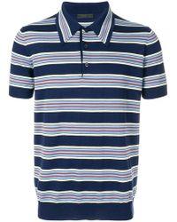 Prada - Striped Polo Shirt - Lyst