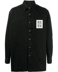 Raf Simons ロゴパッチ シャツ - ブラック