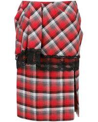 Facetasm - Plaid Layered Lace Trim Midi Skirt - Lyst