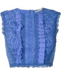 Martha Medeiros Ariella Lace Cropped Top - Blue