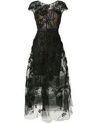 Marchesa キャップスリーブ Aラインドレス - ブラック