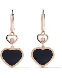 Chopard 18 Kt Rose Goud Happy Hearts Onyx En Diamanten Oorbellen - Metallic