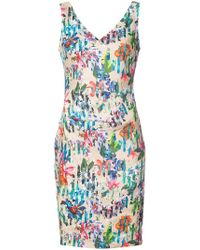 Nicole Miller - Kenna Tropical Print V-neck Dress - Lyst