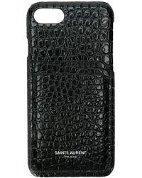 Saint Laurent Iphone 8 Crocodile Embossed Case - Black