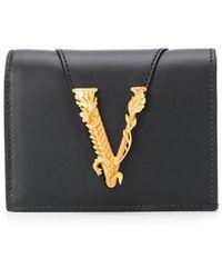 Versace Virtus Bifold Wallet - Black