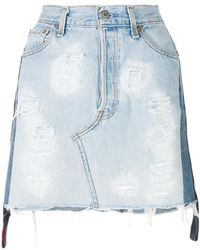 Forte Couture - Distressed Denim Mini Skirt - Lyst