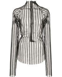Paula Knorr Velvet Striped Top - Black