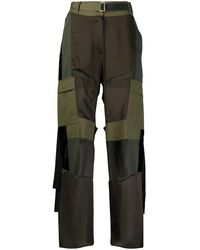 Sacai Pantalon cargo à taille haute - Vert